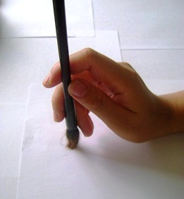 Example of how to hold the chinese calligraphy brush
