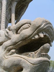 Chinese stone lion statue