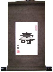 Longevity Single Chinese Character Art Scroll